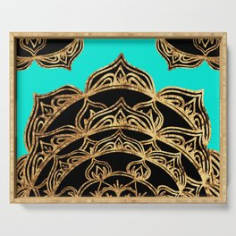 Gold Lace on Turquoise Serving Tray
