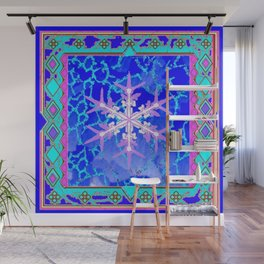 Blue Frozen Snowflake Abstract Art Wall Mural
