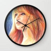 jennifer lawrence Wall Clocks featuring Jennifer Lawrence by xDontStopMeNow