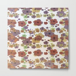 Multicolored Floral Collage Print Metal Print