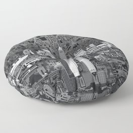 indianapolis city skyline black and white Floor Pillow