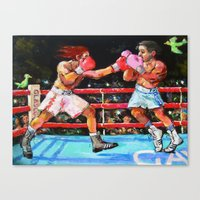 boxing Canvas Prints featuring boxing by Piubeniart