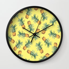 'Cause Pineapples (Yellow Vintage) Wall Clock