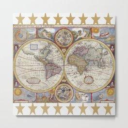 Vintage Map with Stars Metal Print