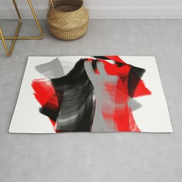 dancing abstract red white black grey digital art Rug