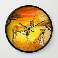 tigers Wall Clocks featuring Tigers Sun by ArtSchool