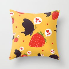 the death loves the strawberry Throw Pillow