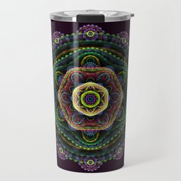Fractal mandala on purple Travel Mug