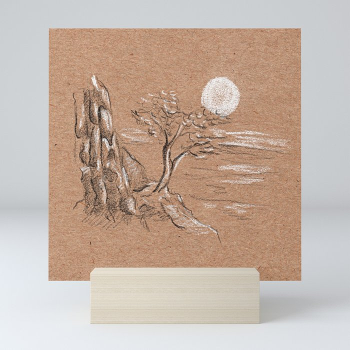 Mountain lonely tree Mini Art Print