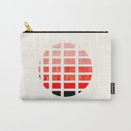 Watercolor Colorful Vermillion Minimalist Mid Century Modern Square Matrix Geometric Pattern Round C Carry-All Pouch