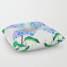 blue purple hydrangea Floor Pillow