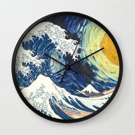 Starry Night Over The Great Wave Off Kanagawa Van Gogh/Hokusai Wall Clock