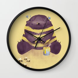 Cherry brown bear imitating a bee on flax background Wall Clock