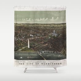 The City of Washington Birds-Eye view from the Potomac-looking North (1892) Shower Curtain