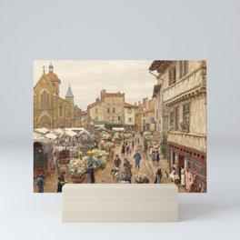 Flower Market, Paris, France floral landscape painting by Firmin Girard Mini Art Print