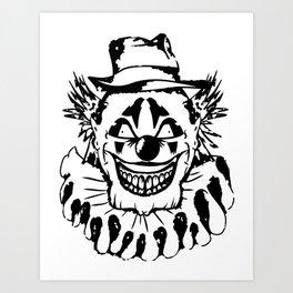 Black and white Evil Clown Art Print