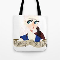 mother of dragons Tote Bags featuring Mother of Dragons by hellokittyloli