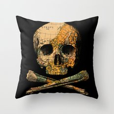 Treasure Map Skull Wanderlust Europe Throw Pillow