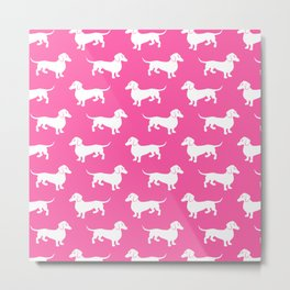 Pink Dachshunds Metal Print
