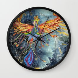 The Phoenix Rising From the Ashes Wall Clock