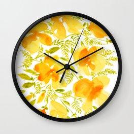 Watercolor California poppies (Quad set, #4) Wall Clock