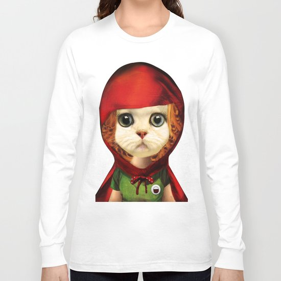 Kitten red riding  Long Sleeve T-shirt