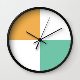 Minimal Abstract Lucite green, Coral, Grey, Honey, and White 14 Wall Clock