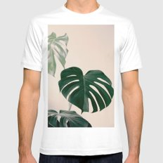 Botanical Vibes VII White Mens Fitted Tee MEDIUM