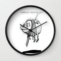 vampire weekend Wall Clocks featuring Weekend by MC STD