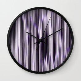 soft monochrome ikat stripe with purple accent Wall Clock