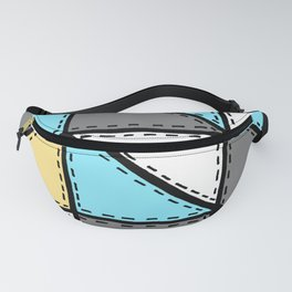 Marker Patchwork – Triangles and Rectangles – Gray Blue Yellow Fanny Pack