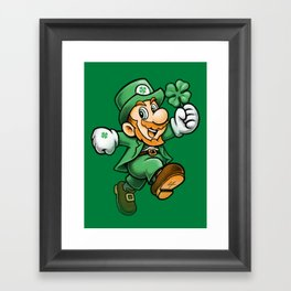 Lucky Mario Leprechaun Framed Art Print