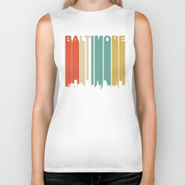 Retro 1970's Baltimore Maryland Downtown Skyline Biker Tank