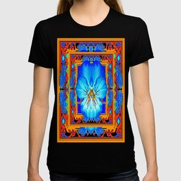 Orange Southwest Blue pansy Patterned Art Design T-shirt