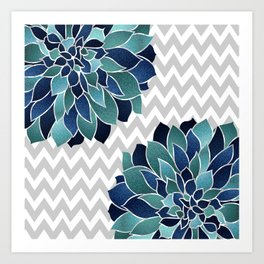 Floral Prints and Chevron, Navy, Teal and Gray Art Print