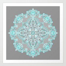 Teal and Aqua Lace Mandala on Grey Kunstdrucke