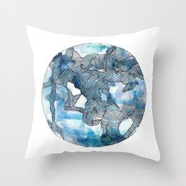Blue Labyrinth Throw Pillow