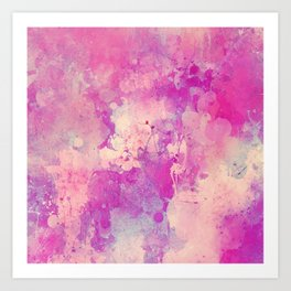 Abstract pink ivory teal watercolor brushstrokes pattern Art Print