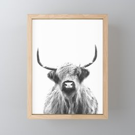 Black and White Highland Cow Portrait Framed Mini Art Print