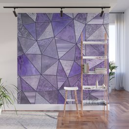 Purple Lilac Glamour Shiny Shimmering Patchwork Wall Mural