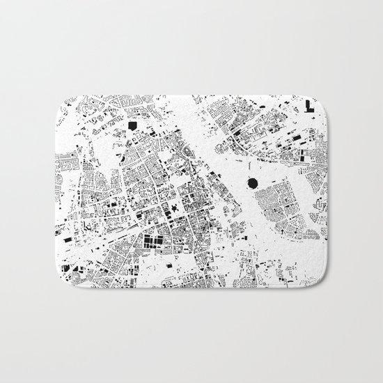 Warszawa Map Schwarzplan Only Buildings Bath Mat