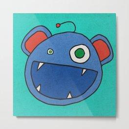 Slightly Amused Monsters, III Blue Metal Print