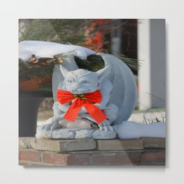 Dashing Gargoyle in Winter Snow - Dressed for the Holiday Season Metal Print
