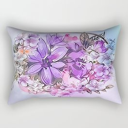 Painterly Violet Floral Abstract Rectangular Pillow