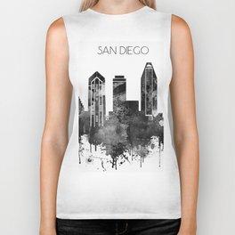 Black and white watercolor San Diego skyline Biker Tank