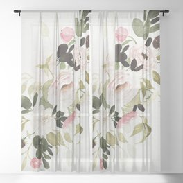 Romantic Loose Rose Bouquet Sheer Curtain