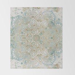 Mandala Flower, Teal and Gold, Floral Prints Throw Blanket