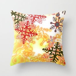 New snow red flake in windy winter Throw Pillow