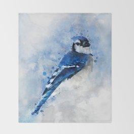 Watercolour blue jay bird Throw Blanket