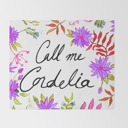 Call Me Cordelia - Purple Flowers Throw Blanket